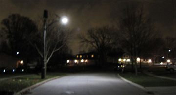 Hybrid Wind/Solar Street Lights in Residential Neighborhood