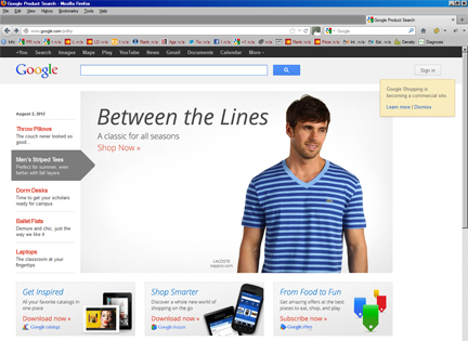 Screen Capture of New Google Shopping, 8/02/12