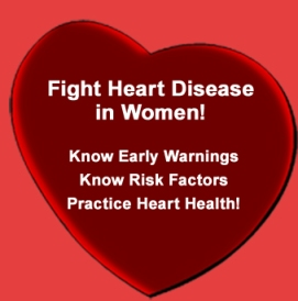 Heart with text about heart disease in women