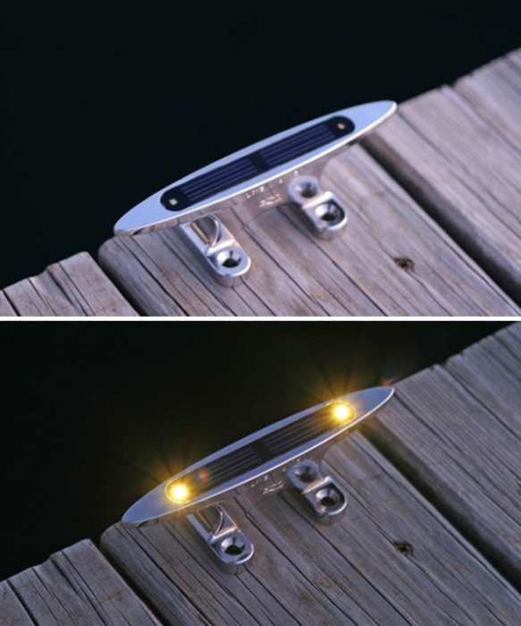 Cleats with solar lights help eliminate one of the greatest dockside tripping hazards!