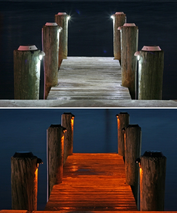 Solar Piling Lights add down lighting, enhancing aesthetics and safety!