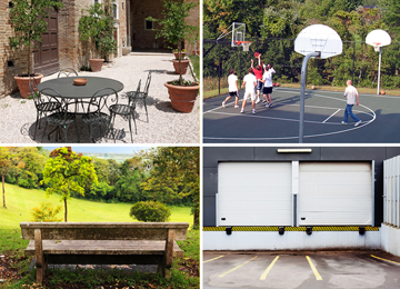Restaurant, courtyard, basketball court, park, industrial loading dock.