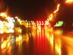 abstract lighted street at night