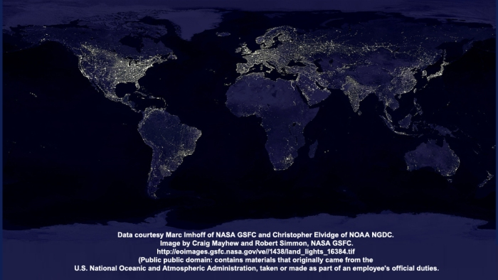 composite satellite images of global light pollution, 1994 and 1995