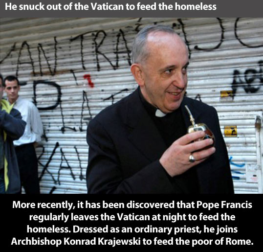 Pope Francis sneaks out of the Vatican dressed as regular priests and feeds the poor and homeless in Rome.